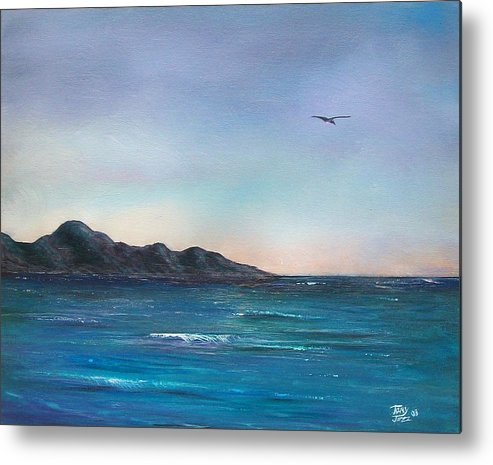 Seascapes. Seagull Metal Print featuring the painting Seagull Seascape by Tony Rodriguez