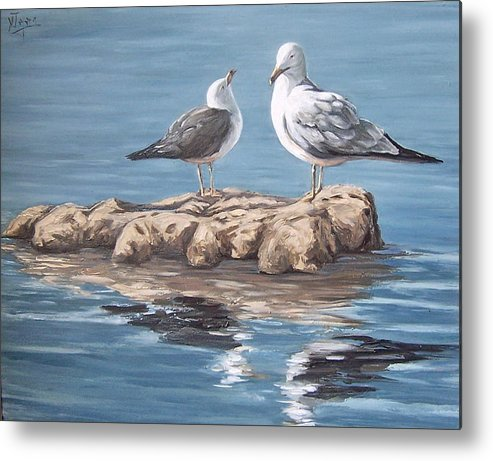 Seagulls Sea Seascape Water Bird Metal Print featuring the painting Seagulls In The Sea by Natalia Tejera