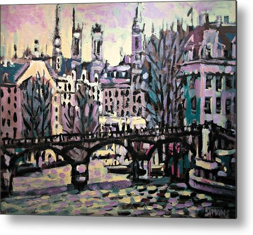 Landscape Metal Print featuring the painting Seine by Brian Simons