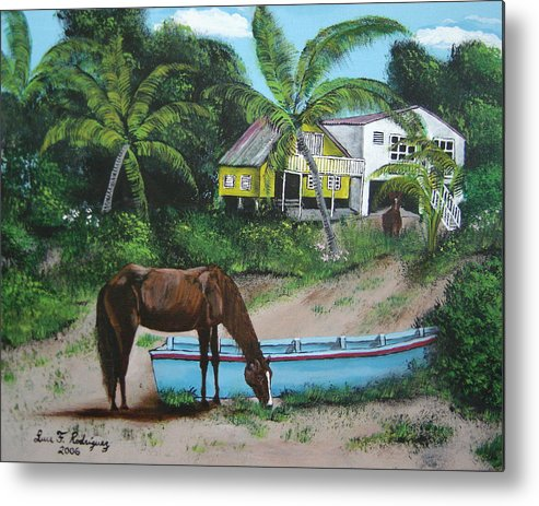 Aguadilla Metal Print featuring the painting Serenity by Luis F Rodriguez