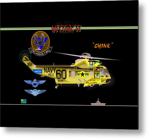 Metal Print featuring the digital art Sh-3a Seaking From Hs-2 by Mike Ray