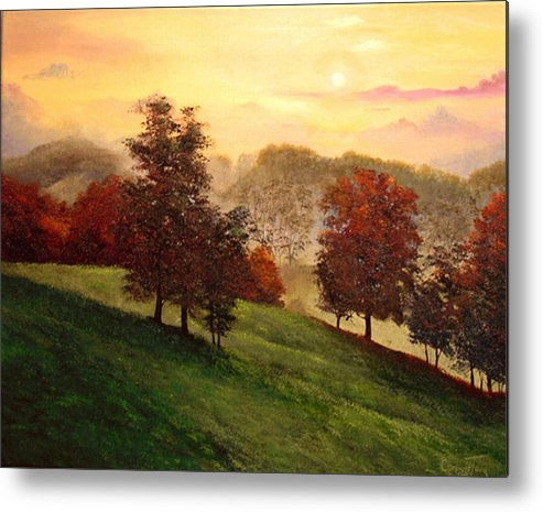 A Painting A Day Metal Print featuring the painting Shenandoah Valley Sunrise by Connie Tom