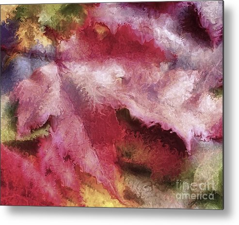 Shimmering Metal Print featuring the mixed media Shimmering Leaves by Marilyn Sholin