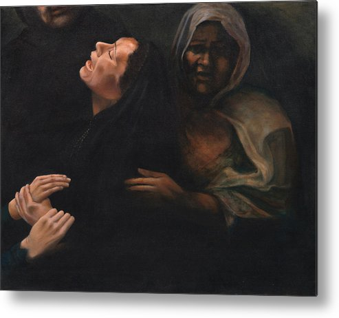 Women Metal Print featuring the painting Shock And Awe by Nancy Ethiel