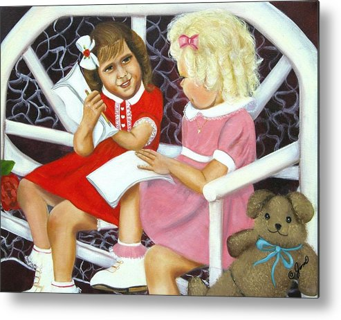Children Metal Print featuring the painting Sister Chat by Joni McPherson