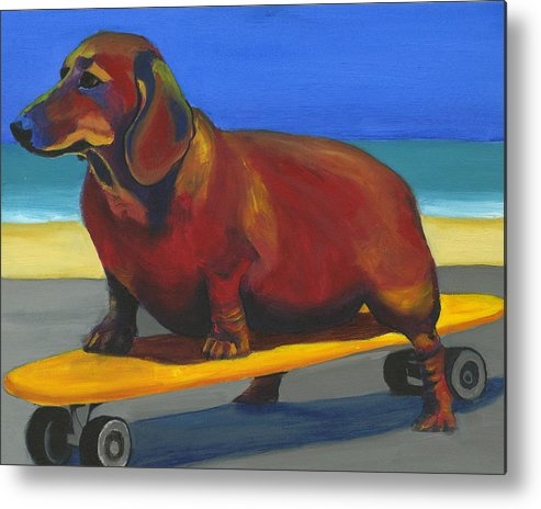 Skateboard Metal Print featuring the painting Skaterdog by Debbie Brown