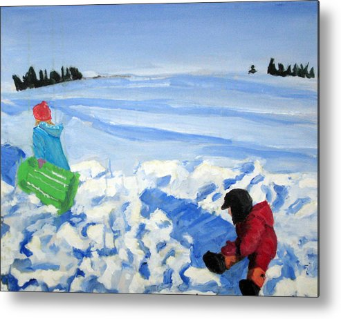 Snow Metal Print featuring the painting Sledding by Alicia Kroll