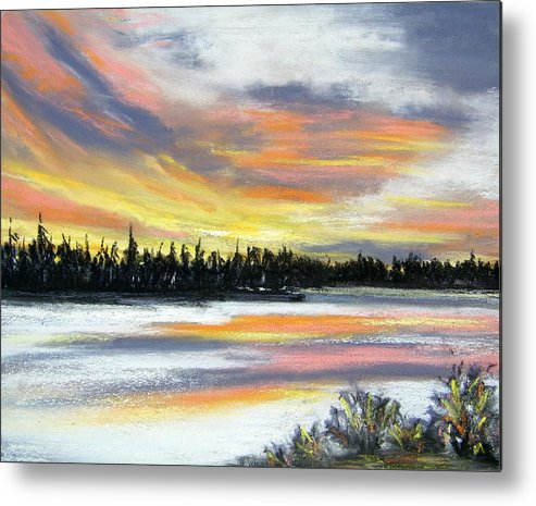 Sunset Metal Print featuring the pastel Snake River Sunset by Gale Cochran-Smith