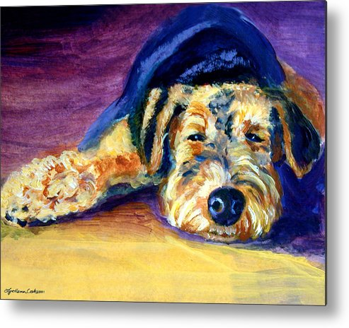 Airedale Terrier Metal Print featuring the painting Snooze Airedale Terrier by Lyn Cook