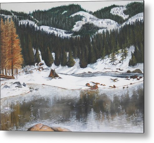 Snow Metal Print featuring the painting Snowy Lake by Travis Day