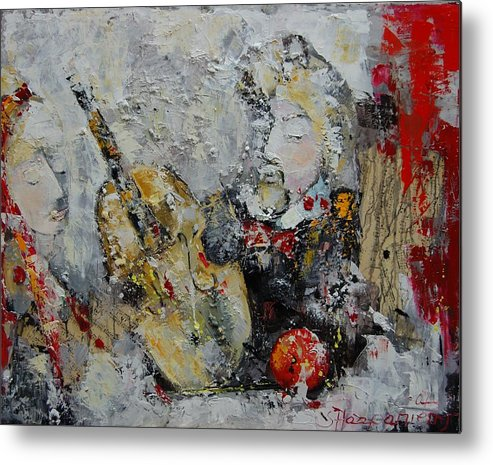 Abstract Metal Print featuring the painting Sound Of Love by Sari Haapaniemi