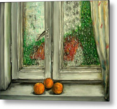 Rain Metal Print featuring the painting Sound Of Rain Oil Painting by Natalja Picugina