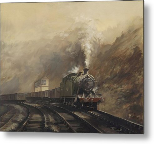 Steam Metal Print featuring the painting South Wales Coal Train by Richard Picton