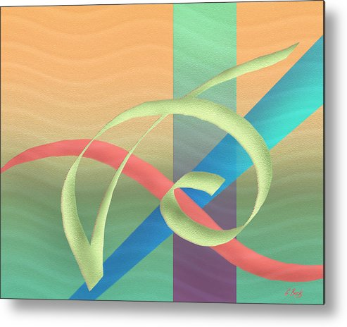 Contemporary Abstract Design Fluid Flowing Tropical Colors Gordon Beck Art Metal Print featuring the painting South Wind by Gordon Beck