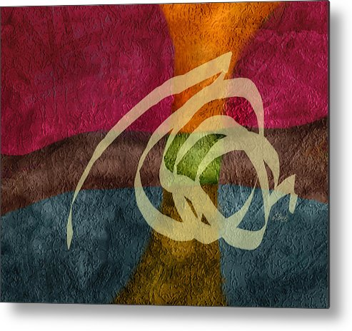 Contemporary Abstract Design Red Blue Brown Orange G. Metal Print featuring the painting Spellbound by Gordon Beck