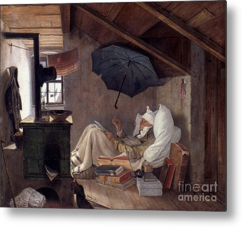 19th Century Metal Print featuring the photograph Spitzweg: Poor Poet, 1839 by Granger