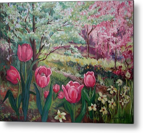 Original Metal Print featuring the painting Spring by Fran Kelly