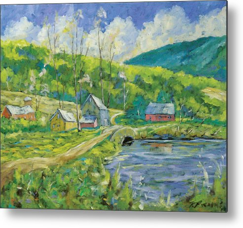Landscape Metal Print featuring the painting Spring Scene by Richard T Pranke