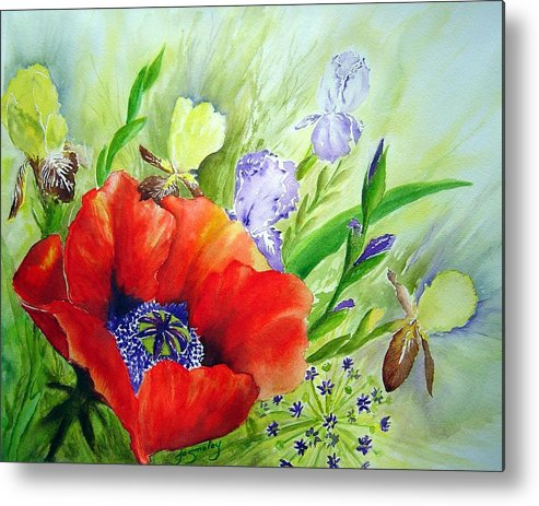 Poppy Iris Floral Painting Metal Print featuring the painting Spring Splendor by Joanne Smoley