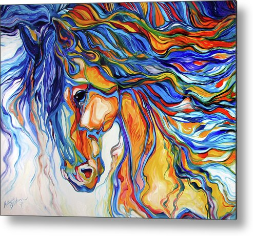 Equine Metal Print featuring the painting Stallion Southwest By M Baldwin by Marcia Baldwin