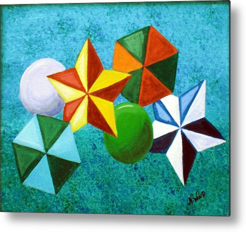 Stars Metal Print featuring the painting Stars Circles And Hexagons by Nancy Sisco