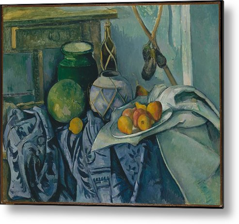 Paul Czanne Still Life With A Ginger Jar And Eggplants Metal Print featuring the painting Still Life With A Ginger Jar And Eggplants by Paul Czanne