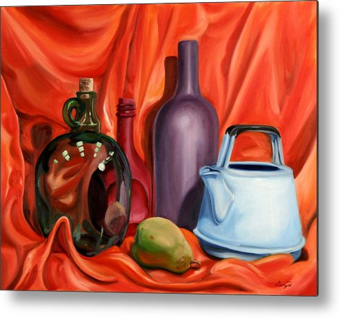 Still Life Metal Print featuring the painting Still Life With Pear by Maryn Crawford
