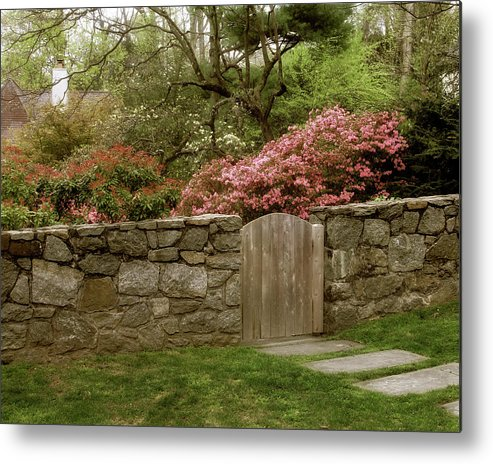Wooden Gate Metal Print featuring the photograph Stone Gate by Jessica Jenney