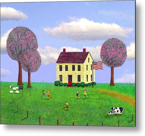 Folk Metal Print featuring the painting Stone House In Spring by Paul Little