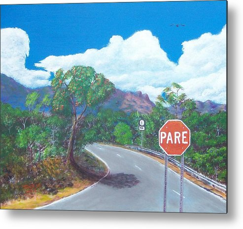 Landscape Metal Print featuring the painting Stop Sign by Tony Rodriguez