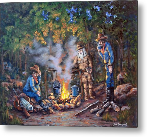 Campfire Metal Print featuring the painting Stories Around The Fire by Julie Townsend