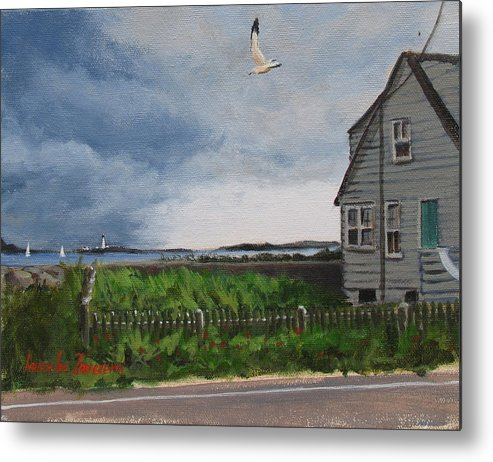 Seascape Metal Print featuring the painting Storm Over Hull by Laura Lee Zanghetti