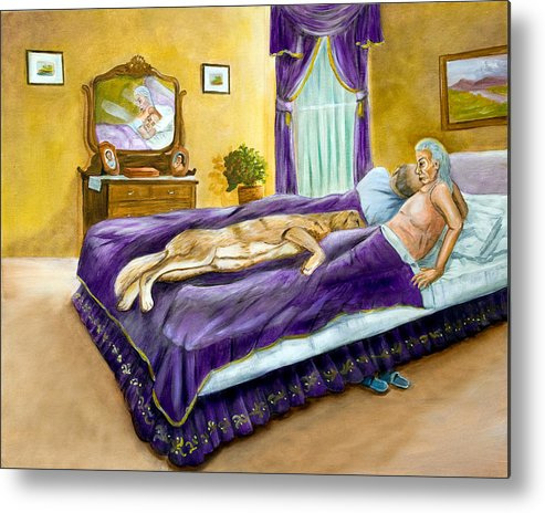Bed Metal Print featuring the painting Strange Bedfellows by Dorothy Riley