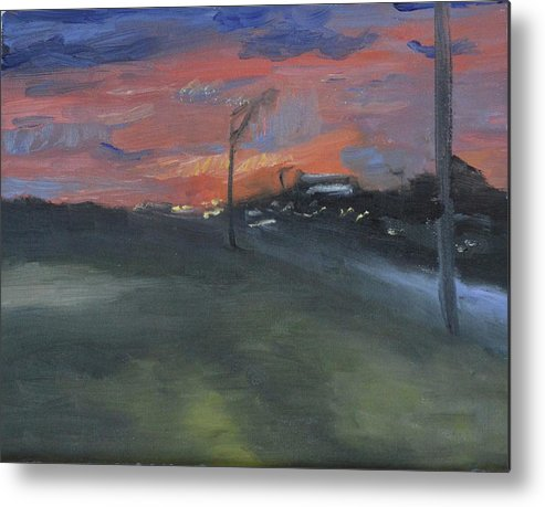 Metal Print featuring the painting Street Light by Sylvia J Shaffer
