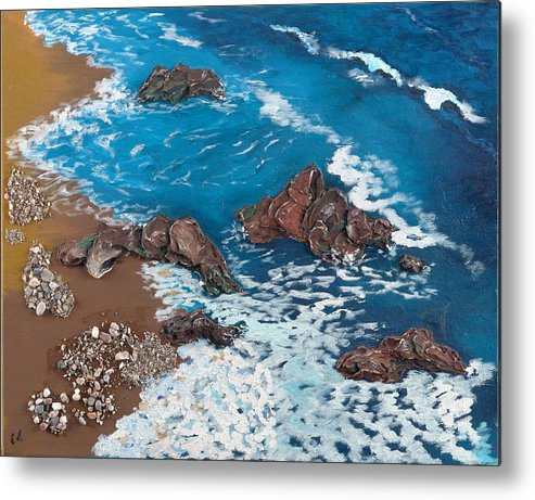 Seascape Metal Print featuring the painting Strength by Helene Lagoudakis