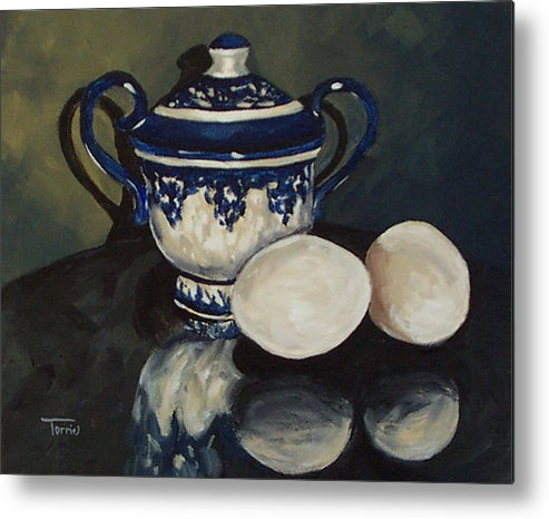 Flow Blue Metal Print featuring the painting Sugar And Eggs by Torrie Smiley