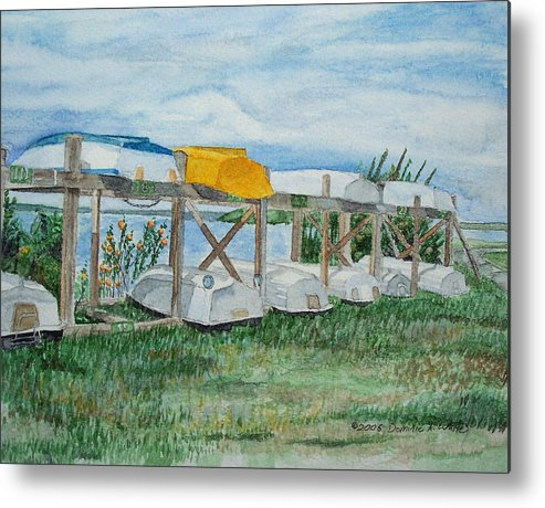Rowboats Metal Print featuring the painting Summer Row Boats by Dominic White