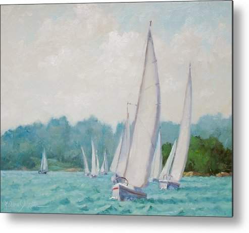 Sail Boats Metal Print featuring the painting Sun Cruisers by L Diane Johnson