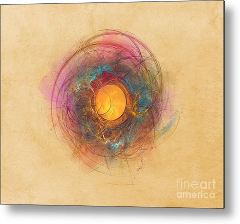 Fractal Metal Print featuring the digital art Sun Fractal Abstract Art by Justyna Jaszke JBJart