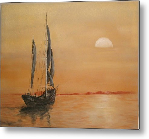 Boat Metal Print featuring the painting Sun Set On The Water. by Bonnie Rogers