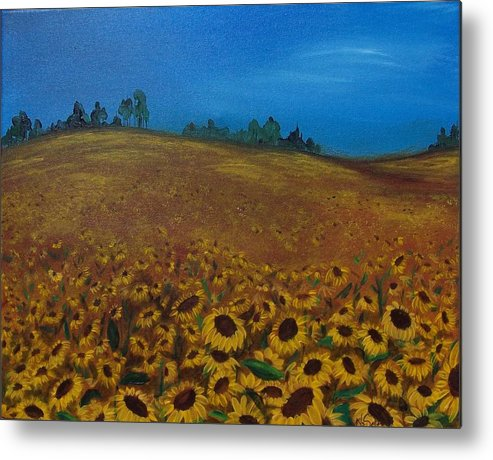 Sunflowers Metal Print featuring the painting Sunflower Field 3 by Nancy Self