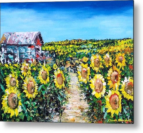 Art Metal Print featuring the painting Sunflowers by Claude Marshall