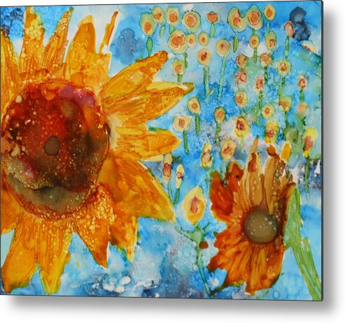 Sunflowers Metal Print featuring the painting Sunflowers In Fields by Pam Halliburton
