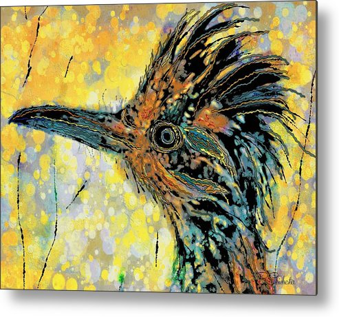 Roadrunner Metal Print featuring the mixed media Sunlit Roadrunner by Barbara Chichester