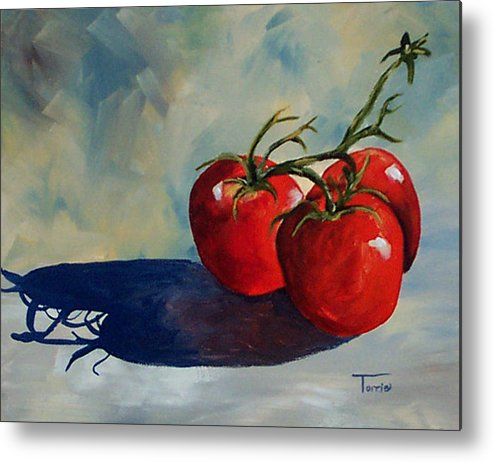 Tomato Metal Print featuring the painting Sunlit Tomatoes by Torrie Smiley