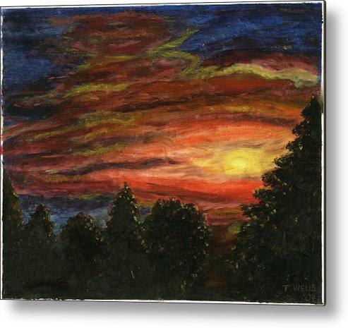 Sunset In Washington State Metal Print featuring the painting Sunset In Washington State by Tanna Lee M Wells
