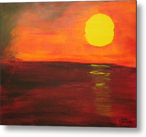 Sunset Metal Print featuring the painting Sunset by Jeff Caturano