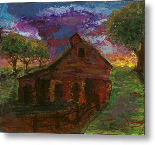 Barn Metal Print featuring the painting Sunset On The Farm by Davis Elliott