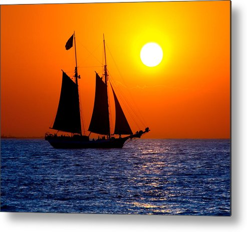 Yellow Metal Print featuring the photograph Sunset Sailing In Key West Florida by Michael Bessler