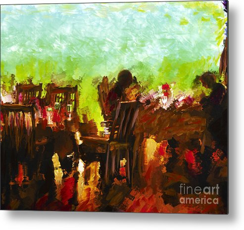 Dining Metal Print featuring the mixed media Sunset Terrace Intimacy by Marilyn Sholin